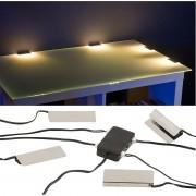Lunartec LED-Glasbodenbeleuchtung: 4 Klammern mit 12 warmweissen LEDs