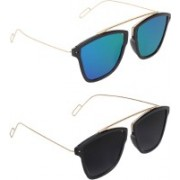 Pogo Fashion Club Retro Square Sunglasses(Black, Blue)