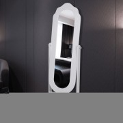 vidaXL Огледало на стойка, бяло, регулируемо