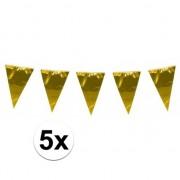 Geen 5x stuks XL vlaggenlijnen metallic goud 10 meter