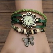 i DIVA'S Best Green Leather Casual Designer Womens Watch