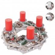 Adventskranz rund, Weihnachtsdeko Tischkranz, Holz Ø 35cm weiß-grau ~ Variantenangebot