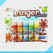 Glorygifts Set of 5 Non Toxic Finger Paint Bottles with Smooth, Mixable, Easy to Wash & Dry Paints for Kids Ages 3+ Years (Assorted Colors)