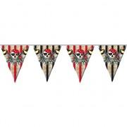 Merkloos Vlaggenlijn piraten zwart met rood 6 meter