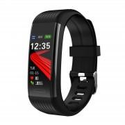 R1 0.96inch Color Screen Smart Band Waterproof Bluetooth Bracelet Blood Pressure Heart Rate Monitor - Black