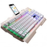 ZGB G700 104 Keys USB Wired Mechanical Feel RGB Backlight Metal Panel Suspension Gaming Keyboard with Phone Holder(Gold)
