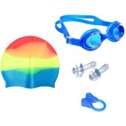 Bloomun Swimming kit with Cap Eye-wear Earplug and Noseplug Combo (Assorted Color)