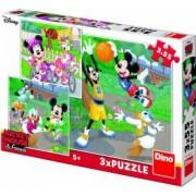 Puzzle 3 in 1 Dino Toys Mickey si Minnie sportivii 55 piese Multicolor