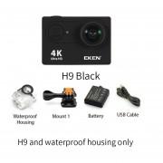 EKEN H9 Cámara de Acción H9R wifi 4 K/30FPS 1080 p/60fps 720 P/120FPS Ultra HD mini cámara subacuática impermeable Video cámara deportiva(#h9 x Housing Negro)(# Opción3)