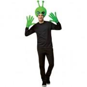 Merkloos Alien hoofd met handschoenen