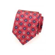 Melírovaná kravata z hedvábí červená s květy Avantgard 620-62906