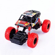 Pull Back Monster Trucks, Push & Go Vehicle, Metal Friction Powered Monster Jam Cars, 4 Wheels Buggy Shock Springs Toys Vehicle Toy for Toddler Boys Girls Baby - 1:32 Scale (Red)