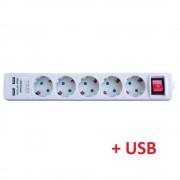 Prelungitor cu 5 prize + 2 USB, lungime 3 m cu intrerupator, TED Electric