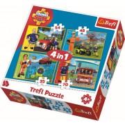 Puzzle clasic pentru copii - Pompierul Sam in actiune 4 in 1