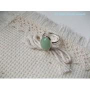Inel reglabil din argint cu aventurin verde oval 14 mm