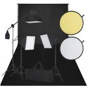 vidaXL Kit de estúdio: pano preto de fundo, 3 lâmpadas de luz diária