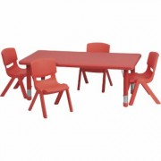 Flash Furniture Kids' Activity Table Set - Red, 24Inch x 48Inch Rectangular Table, 4 Chairs, Model YCX13RECTBLREDR