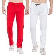 Cliths Sport Active Wear For Men- Mens CottonTrackpants Lower For Men Casual Stylish Pack Of 2 (Black White Red Black)