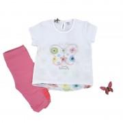 Compleu fete, tricou/colanti cu aplicatii elastice, Melby 6luni