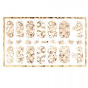 Abtibild unghii cu modele florale aurii H006