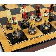 "Pirates Vs Royal Navy Pirate Chess Men Set W/ 18"" High Gloss Dark Walnut & Maple Color Board"