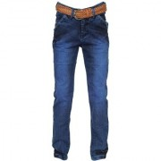 Scoot Blue Jeans For Boys pattern solid material cotton