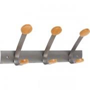 Appendiabiti da parete Trio Alba PMV3 - 144886 Colore grigio e legno - Nr. appendini 6 - Dimensioni 45x9,36x15,6 cm - Da montare si - Conf 1 - PMV3