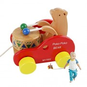 JouerNow Walk-A-Long Bear Knock the Drum Wooden Push and Pull Toy
