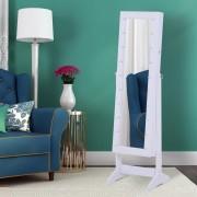 Armário para Joias 20 Luzes de LED Reclinável Fechadura Madeira 40x37x146cm Branco