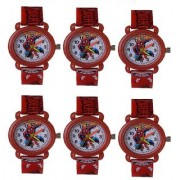 VITREND(R-TM)New Model Spiderman Good Look Birthday Gift Combo Watches(Pack of 6)for Boys Girls(Sent As Available Color)