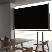 vidaXL Zaťahovacia bočná markíza na terasu čierna 140 x 300 cm