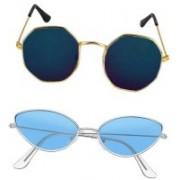 BKGE Retro Square, Cat-eye Sunglasses(Blue, Blue)