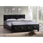 Manželská posteľ s roštom, ekokoža čierna 160x200 CARISA