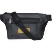 Kan Black Genuine Leather Waist Bag/Travel Organizer for Men & Women(Black)