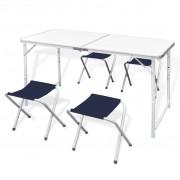 Сгъваем къмпинг комплект от 1 маса и 4 стола