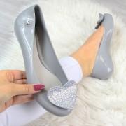 Zaxy Szare baleriny gumowe z sercem ZAXY GLAMOUR FEM 82360 - szary