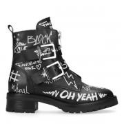 Sacha Zwarte biker boots met tekst