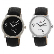 Evelyn Round Dial Black Leather Strap Quartz Watch For Men (Combo)