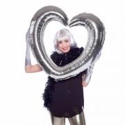 Merkloos Folie foto frame hart zilver 80 x 70 cm
