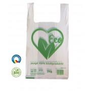 Set 1000 Pungi Biodegradabile Albe, Model Imprimat, 20x6x40 cm, Rezistenta 3 Kg, Grosime 18 MIC - Sacose Ecologice