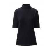 ランズエンド LANDS' END レディース・スーピマ・ファインゲージ・モックネック・セーター/五分袖(ブラック)
