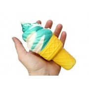 Curious Minds Busy Bags Large Ice Cream Cone Squishy Slow Rise Sweet Treat - Sensory, Stress, Fidget Toy (Blue)