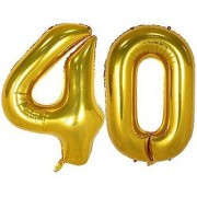 Birthday Party 40 Number Foil Balloon ( Golden Colour )