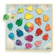 DJECO Drewniane puzzle edukacyjne kształty i kolory LUDICOLORI, DJ01807 N