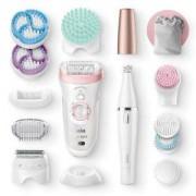Епилатор Braun Silk-epil Beauty Set 9 9995 Premium 9-in-1, Технология SensoSmart, Бръснеща глава, Ексфолираща глава, Епилатор за лице, Бял/Розов, Изложбен артикул в оригинална опаковка