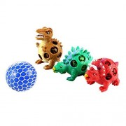 Small Fish Dinosaur Stress Squeeze Toys 3 Pack with 1 Mesh Grape Ball for Boys and Girls, 4 Set Sensory Fidget Kids Adults, Cute Dino Decompression Tool to Kill Time, Great