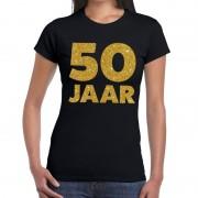 Bellatio Decorations 50 Jaar verjaardag fun t-shirt zwart voor dames 2XL - Feestshirts