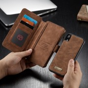CASEME 007 Series Detachable 2-in-1 Zipper Wallet Split Leather Protection Case for iPhone XR 6.1 inch - Brown