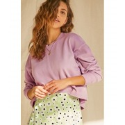 Forever21 Waffle Knit High-Low Top LAVENDER