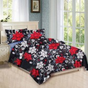 Black bed sheet ( RED WHITE FLOWERS DESIGN)with pillow cover